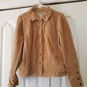 Corduroy beige jacket with collar and snaps